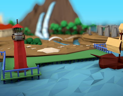 Low poly island that represents company's services