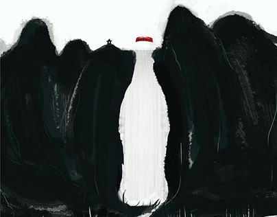 创意海报 可乐 水墨画 中国