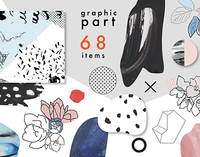 Graphic part. 68 items PNG + ai