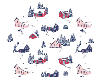 Snowy roofs - pattern design