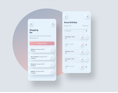 Simple shopping list • Neumorphic concept