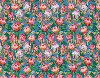 Watercolor King flowers pattern design