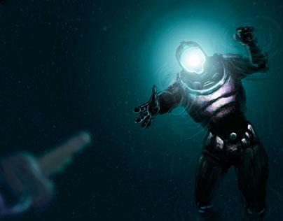 Astronaut finding keys