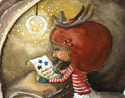 """Reindeer girl"" Winter Illustrations"