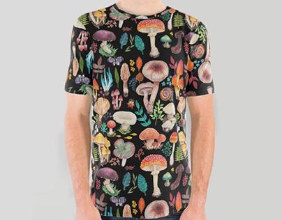 磨菇花園 Mushroom garden - watercolor textile design