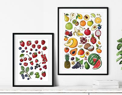 Vector food sketches