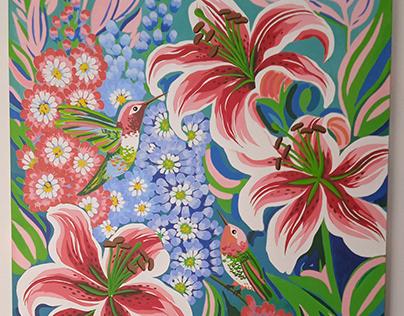 Acrylic on canvas - Floral y colibríes -