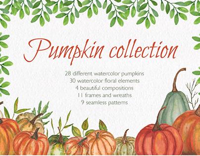 Pumpkin collection. Watercolor clipart.