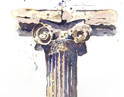 architectural watercolor sketch