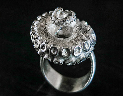 Octopus Ring in Silver