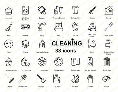 Maid service Vector Set, cleaning service Icon Pack