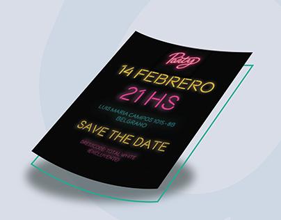 Diseño invitación Neon Party