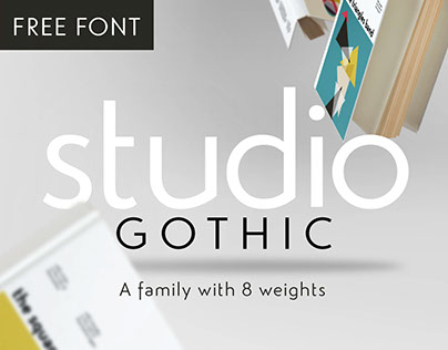 Studio Gothic geometric type family with 2 free fonts