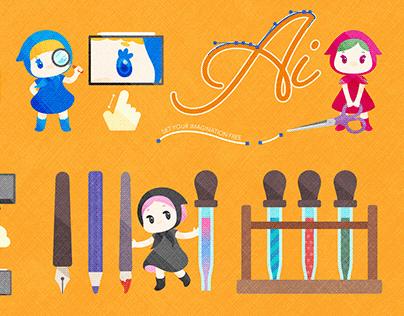 CMYK Girls - Illustrator on the iPad