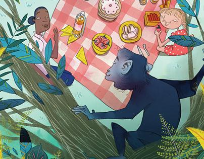 The Blue Monkey Children's Book Illustrations