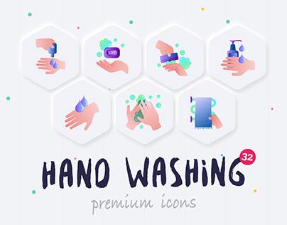 Hand Washing | 32 Icons Set Hand Drawn