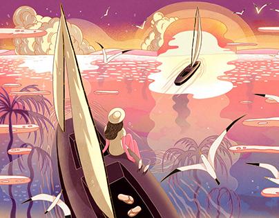 Sunset Journey ( Chill Beats Music Cover Illustration )