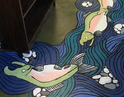 North Kitsap Fishline Foodbank Floor Mural