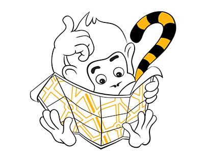Monkey character for BeeLine Mobile Russia