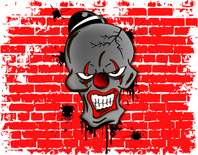 Skull of evil clown
