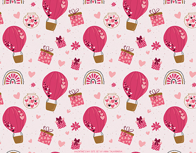 Surface pattern on Valentine's day. Cute illustration