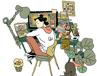 Qu, a gif making illustrator