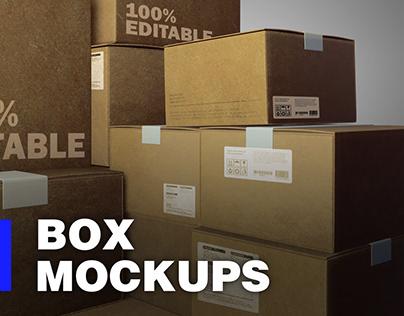 Free Square box Mockups