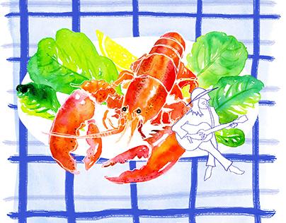 Lobster Musician - Illustration