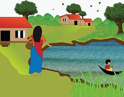 Village Drawing to Illustration
