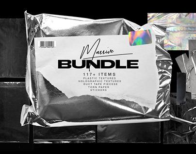 Plastic wrap mockup & torn paper bundle