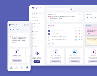 OrigamiLab - Web and mobile dashboard designs