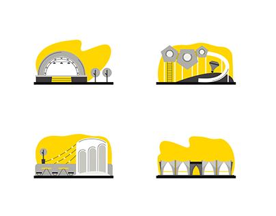 Аrchitectural icon. Vector scheme.