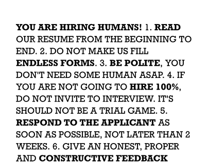 You are hiring HUMANS! A Manifesto.