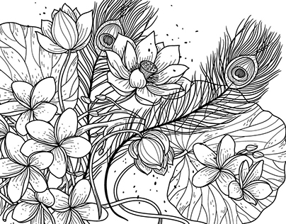 Nature elements in vector outlines