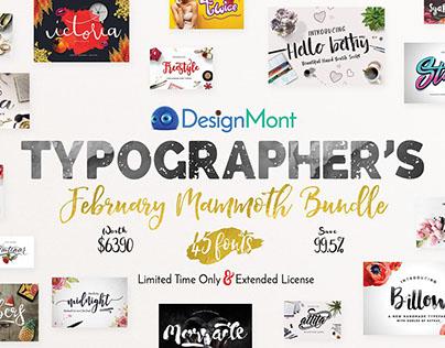 Typographer's February Mammoth Font Bundle (99.5% Off)