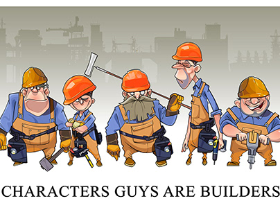 Funny characters workers builders