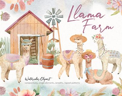 Llama Farm Watercolor Clipart