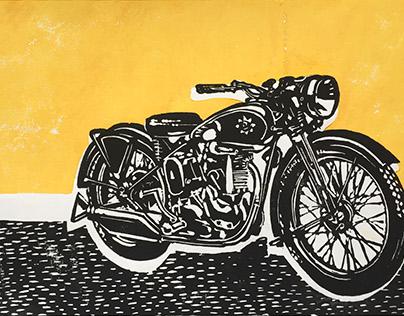 Empire Star Motorcycle Linocut Print