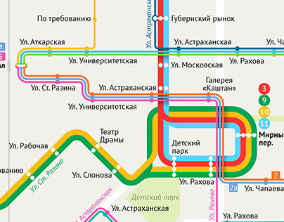 Saratov trams and trolleybuses map