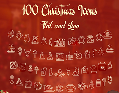 100 Christmas Icons In Flat & Line Design + Freebie