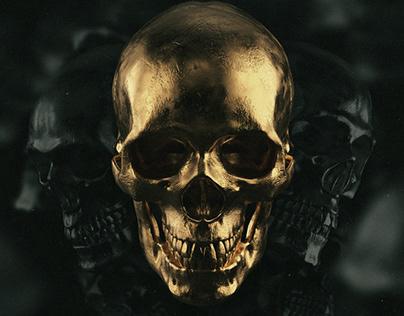 Golden Skull 3D Renders pack