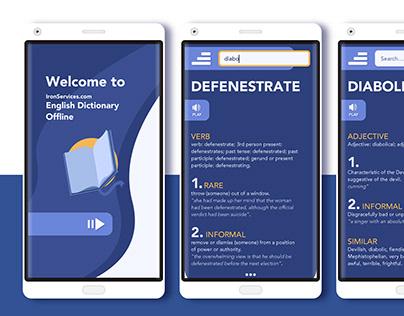 English Dictionary App Mockups