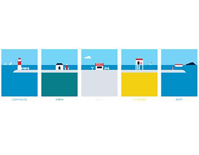 Beachfront graphics with custom made typeface
