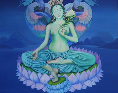 "Painting ""Green Tara"" canvas, tempera 150x150cm."