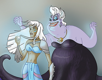 Kida and Ursula - crossover | Illustration