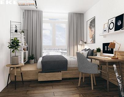 Mẫu nội thất căn hộ chung phong cách Scandinavian