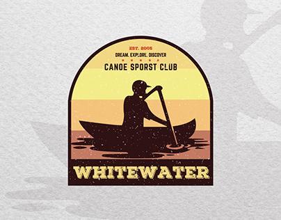 Vintage badge logo design for a Canoe Club