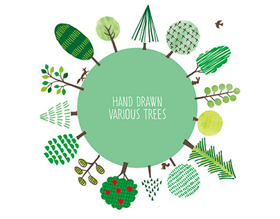 Hand drawn Various Trees