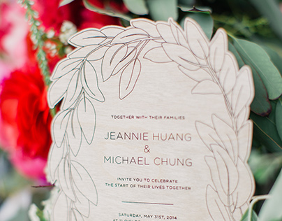 Leafy Botanical Laser Cut Wedding Invitations