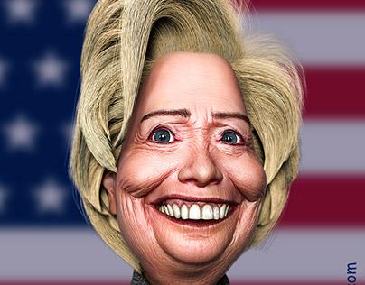 Caricature Hillary Clinton
